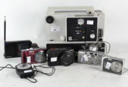 A collection of camera and video equipment, to include Panasonic TZ100, Panasonic RF-B10,