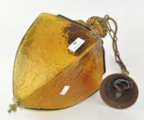 A 20th century coloured glass hanging ceiling light,