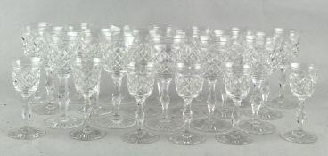 Assorted cut glass brandy glasses,