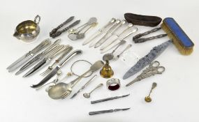 A mixed collection of silver plated items, mostly flatware,