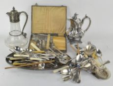 A collection of silver plated items,