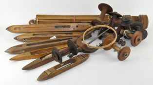 Assorted wooden items, including sewing related tools,