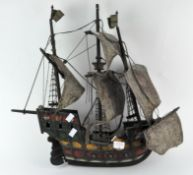 A novelty wooden model of a 15th century style Galleon,