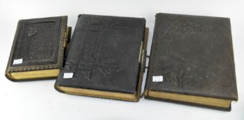Three 19th century leather bound photo albums,