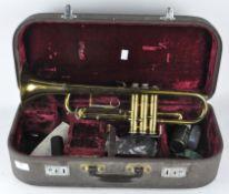 A vintage 'Melody Maker' trumpet, 48cm long,