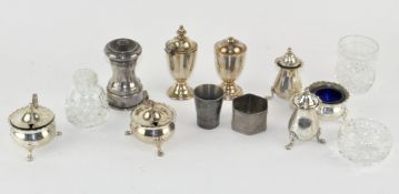 A quantity of silver plated items, including a condiment set,