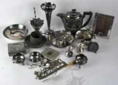 A collection of assorted silver plated items, including Walker and Hall teapot,