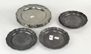 A parcel of modern pewter plates, mostly Continental,