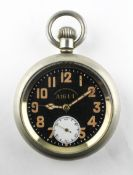 A large military open face pocket watch. Circular black dial signed 'Record Dreadnought A1611'