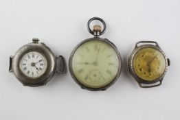 A collection of three silver cased watches of variable designs