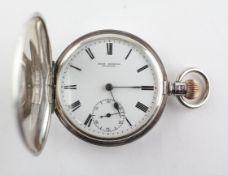 A full hunter pocket watch. Circular white dial with Roman numerals, signed John Edmond, Dunedin.