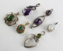 A collection of six pendants of variable designs Three are marked 925 for silver.