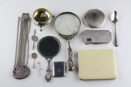 A collection of silver and white metal items, to include two engine turned powder compacts,