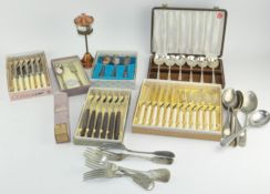 A collection of silver plated flatware, most boxed,