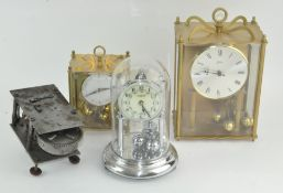 A collection of clocks, mostly anniversary clocks, together with a Gramaphone movement,
