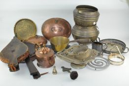 Assorted metalware, including two sets of bellows,
