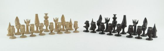 An African carved wooden chess set