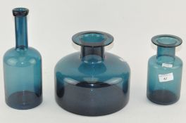Three modern blue glass vases,