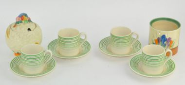 Four Susie Cooper Art Deco coffee cups and saucers....