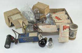 A collection of vintage light bulbs and valves,
