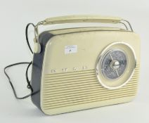A vintage Bush radio, blue and white in colour,