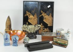 A collection of assorted items, to include a pair of cork panels,
