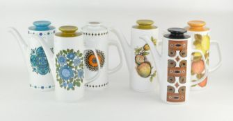 A group of six retro coffee pots by J G Meakin Studio,