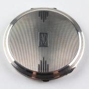 An Art Deco sterling silver compact case, Birmingham 1937,
