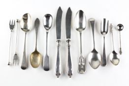 A collection of sterling silver, including knives, pickle forks,