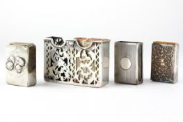 """Four silver matchbox holders, including one adorned with """"Reynolds Angels"""" scene,"""