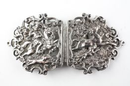 A late Victorian silver two piece buckle,