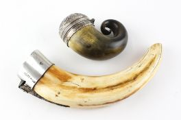 A 19th century white metal mounted snuff mull,