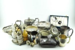 A collection of EPNS and metalware, including a cased set of shell-shaped spoons,