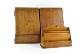 An oak desk tidy and letter rack holder, early 20th century,