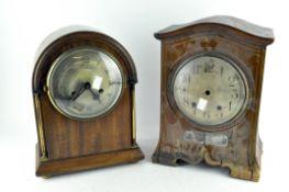 A veneered and inlaid bracket clock, late 19th/20th century,