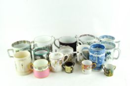 A collection of two-handled ceramic mugs, including pear ware,