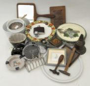 Assorted collectables, including a silver plated toast rack, a jelly-mould, Poole Pottery plates,