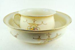 A Royal Crown Ducal part wash set, circa 1900, comprising a chamber pot,