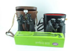 Two pairs of field binoculars, Ross and Super Zenith,