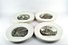 Ten Wedgwood plates printed in Sepia with views of churches, 20th century,