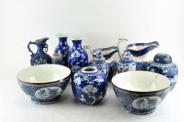 A collection of blue and white wares