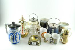 Assorted ceramics, including a Mocha ware mug, a Continental porcelain perfume bottle and stopper,