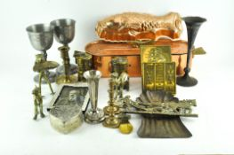 A collection of brass, copper and metalware, including: two brass Premier lamps,