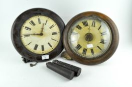 Two early 20th century round striking wall clocks,