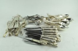 A collection of stainless steel and EPNS flatware, comprising knives,