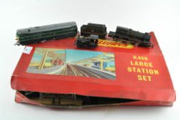 A Triang railways R459 large station set with extensive track, points and locomotives,