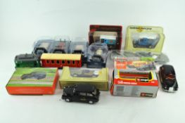 An assortment of Die cast model vehicles, including Matchbox, Models of Yesteryear and others,