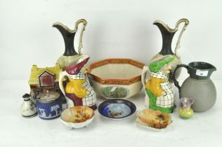 A group of assorted ceramics, including a pair of Toby jugs,