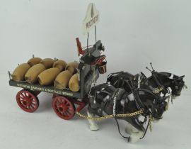 A model of a Watney Brewery drey wagon and horses