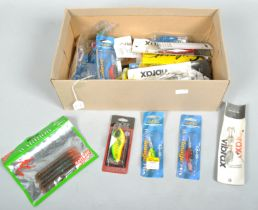 A box of approximately 25 new fishing lures,